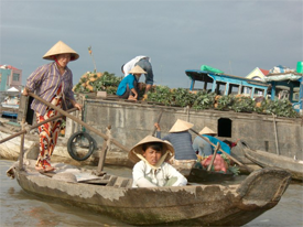 A market on the Mekong river in Vietnam.
