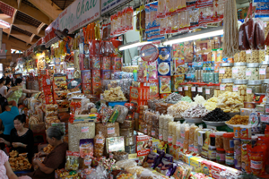 A market stall in southeast Asia.