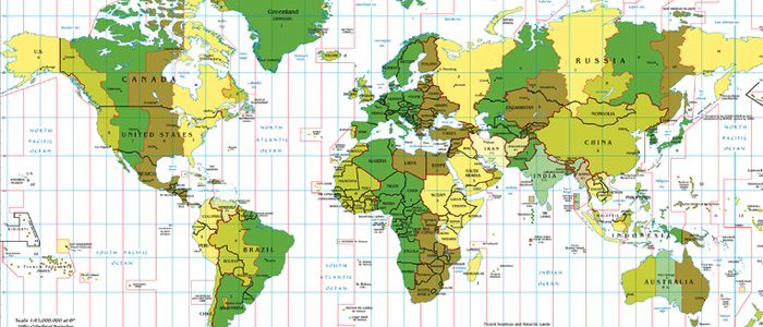 Time zone map for managing differences while working around the world