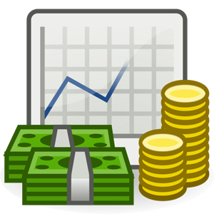 Financial planning chart and money