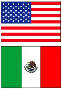 US and Mexico flags, border crossing