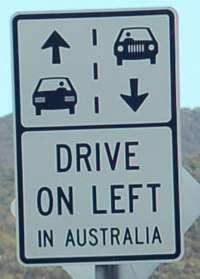 Drive on the left in Austrailia road sign
