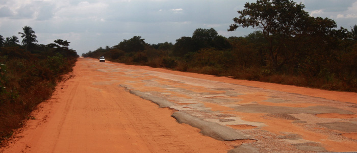 Terrible road conditions in Mozambique