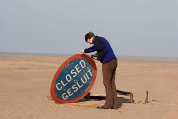 Road closed sign in Namibia