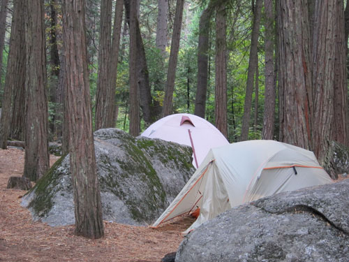 Our campsite at Upper Pines in Yosemite Valley.