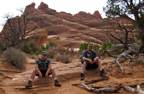Jared and Kobus take a break along the trail.