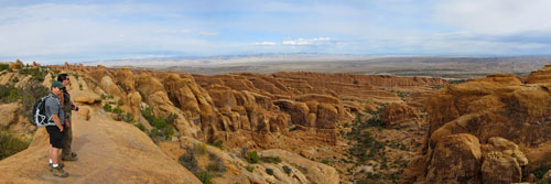 A panoramic view of Arches National Park.
