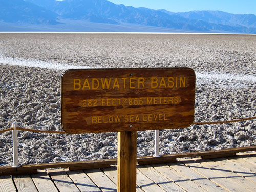 Badwater Basin sign - 282 feet below sea level.