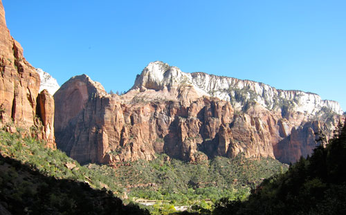 A view of Zion from the Emerald Pools.