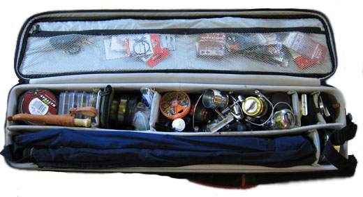 Fishing case full of gear.