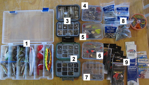 Fishing flies, lures, weights and hooks.