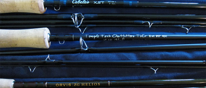 Our three fly fishing rods.