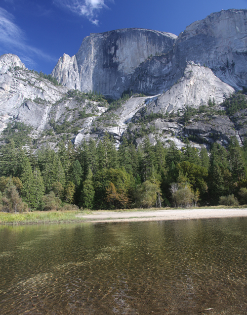 A view of Half Dome from Mirror Lake.