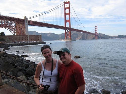 Jess and Kobus in front of the bridge.