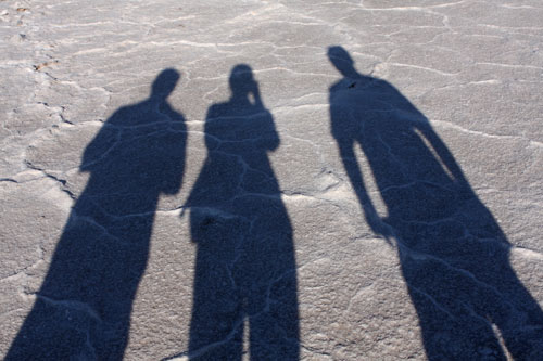 Our shadows in Badwater Basin.